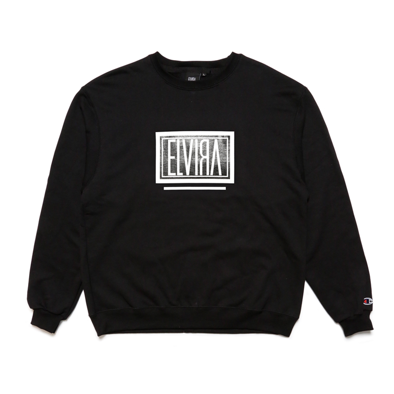 BOX CREW SWEAT -BLACK-