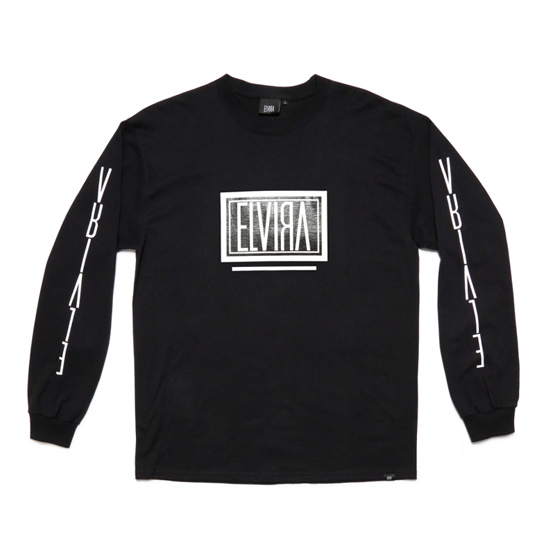 BOX L/S T-SHIRT -BLACK-