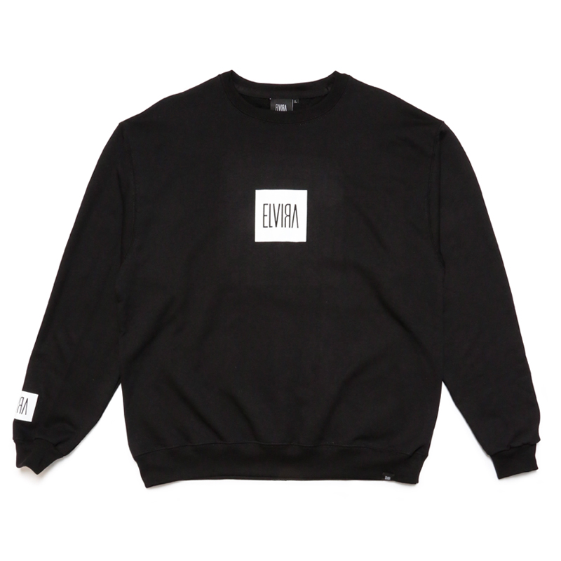 ENAMEL FOIL CREW SWEAT -BLACK-