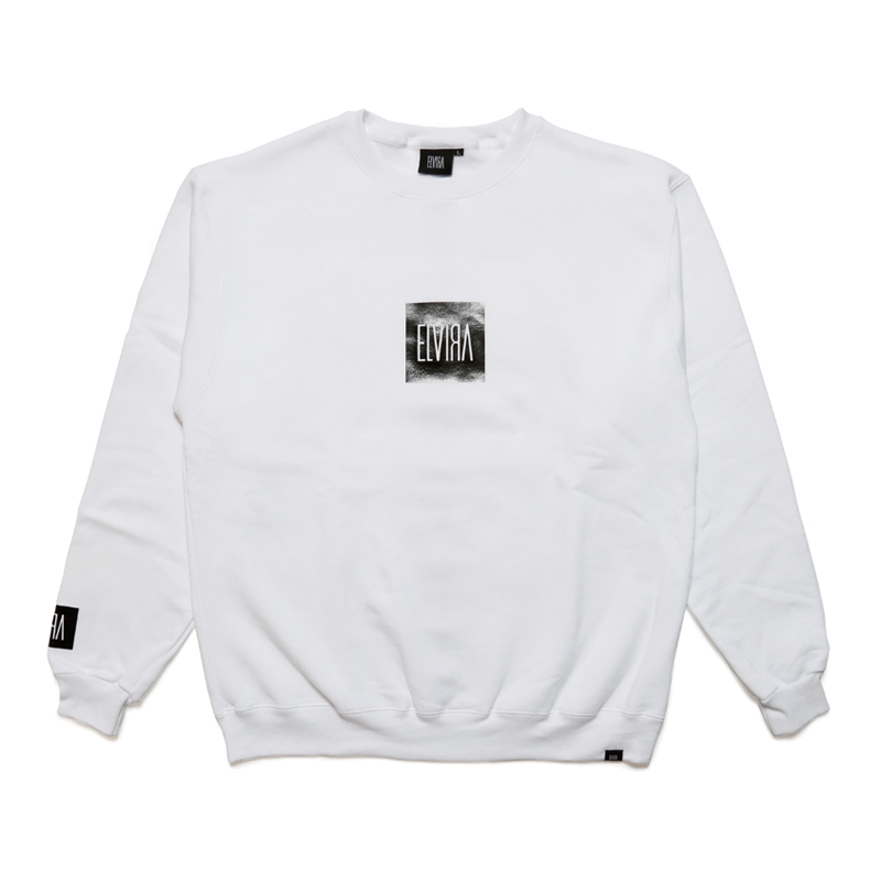 ENAMEL FOIL CREW SWEAT -WHITE-