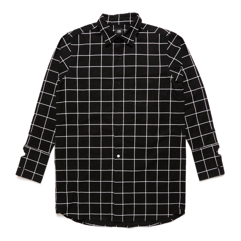 CHECK LONG SHIRT-BLACK-