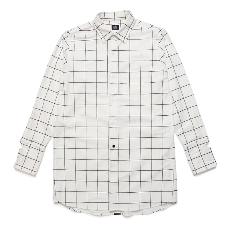 CHECK LONG SHIRT -WHITE-