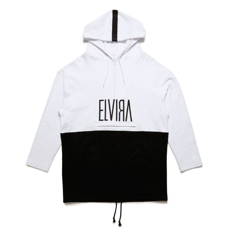 HALF ZIP HOODY -WHITE×BLACK-
