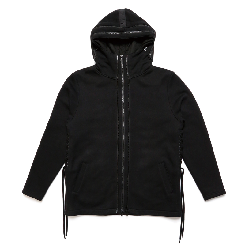 DOUBLE ZIP HOODY-BLACK×BLACK-
