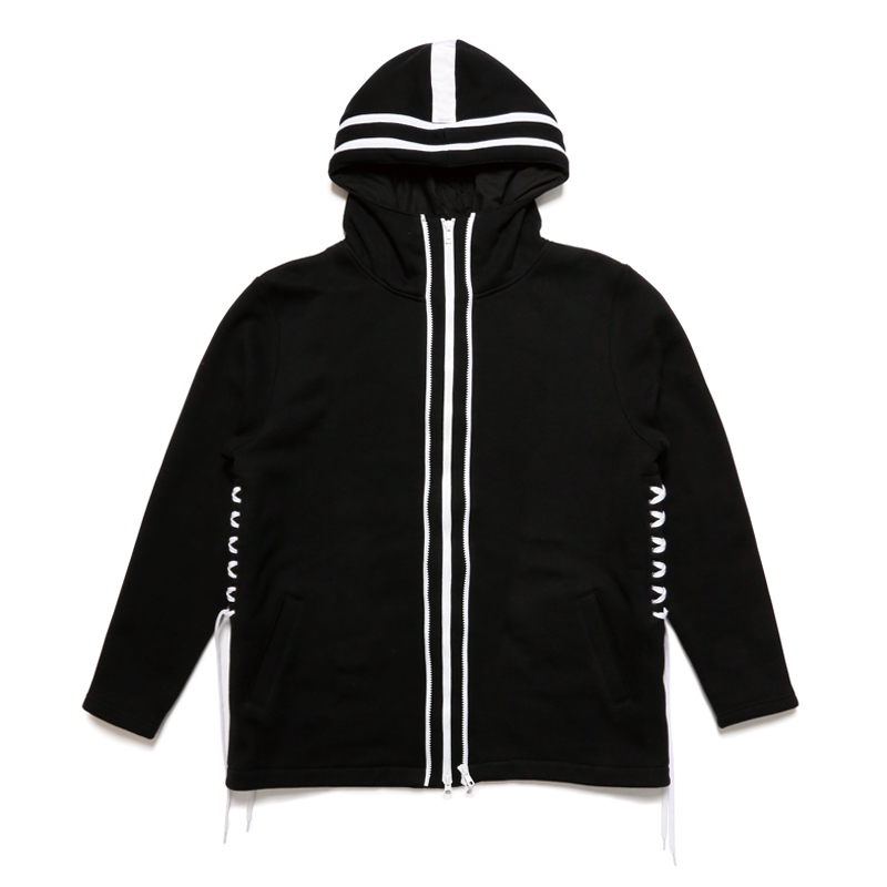 DOUBLE ZIP HOODY -BLACK×WHITE-