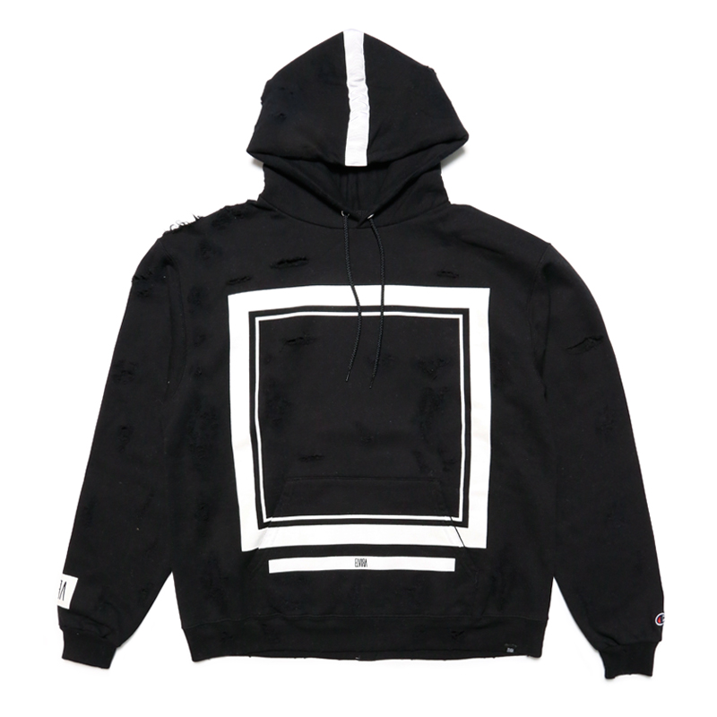 FRAME CRUSH HOODY -BLACK-