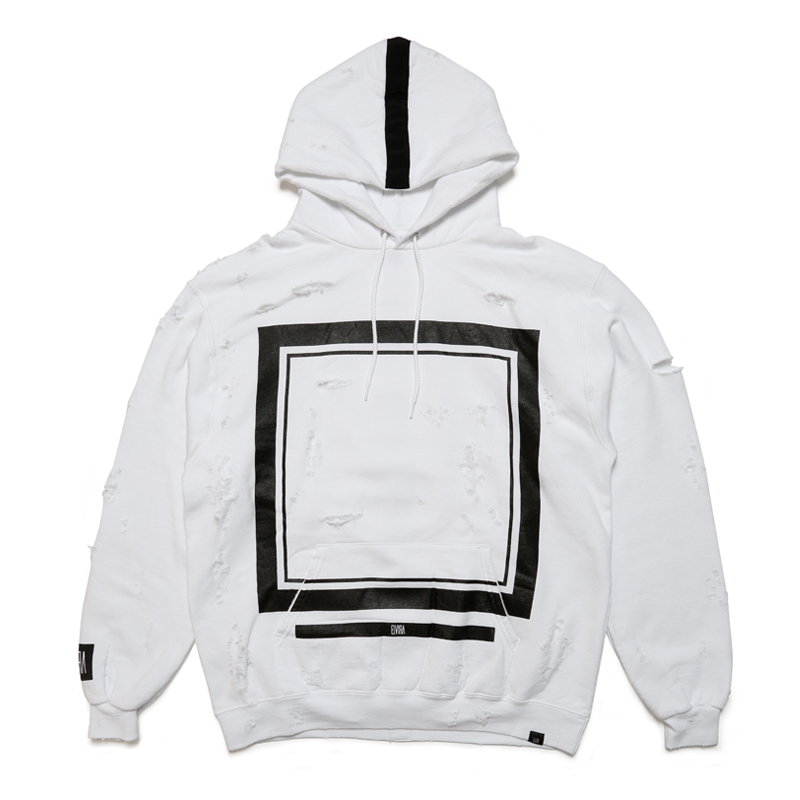FRAME CRUSH HOODY -WHITE-