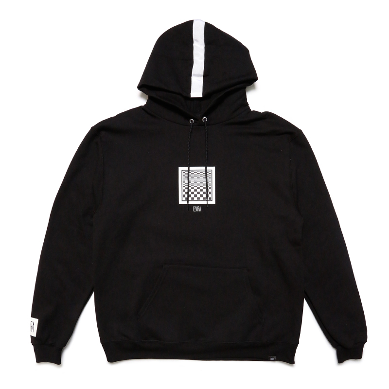 CHECKER FRAME HOODY -BLACK-