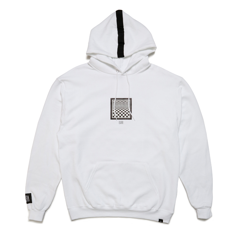 CHECKER FRAME HOODY -WHITE-