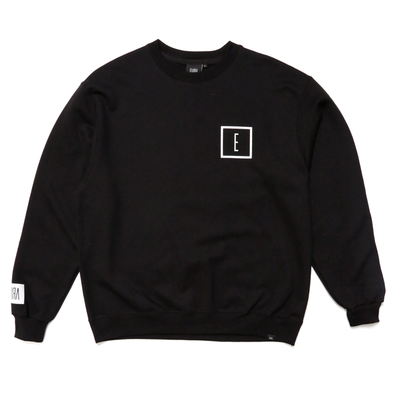 E LOGO CREW SWEAT -BLACK-