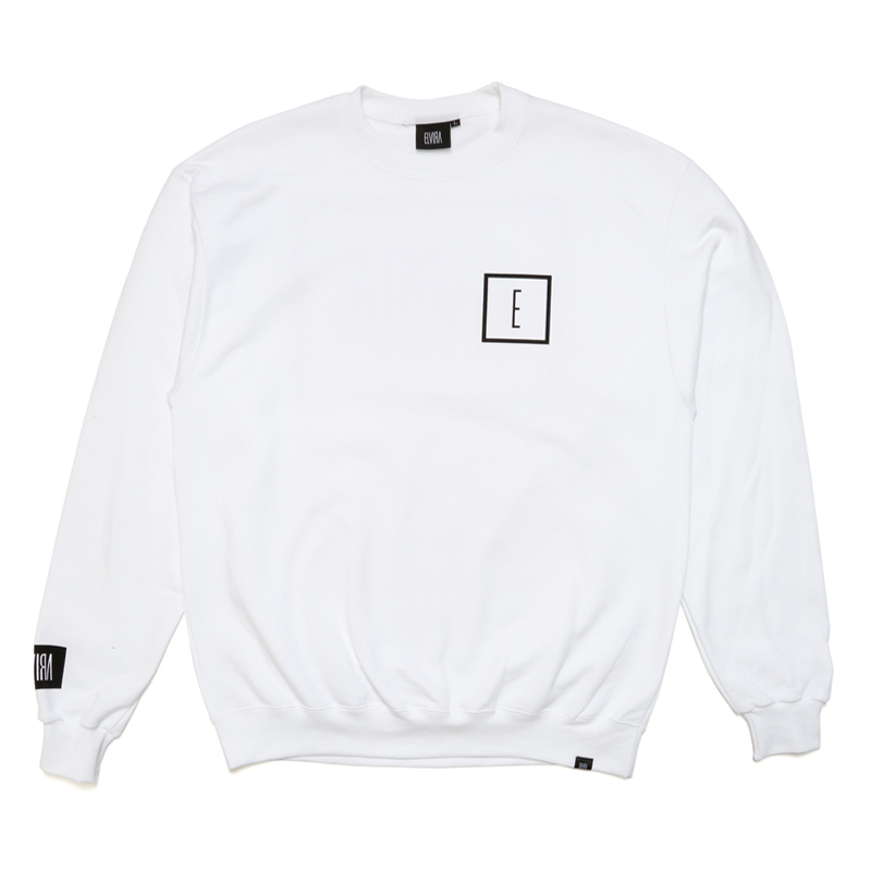 E LOGO CREW SWEAT -WHITE-