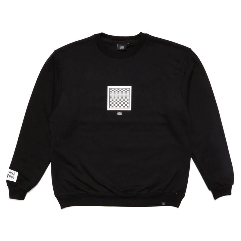 CHECKER FRAME CREW SWEAT -BLACK-