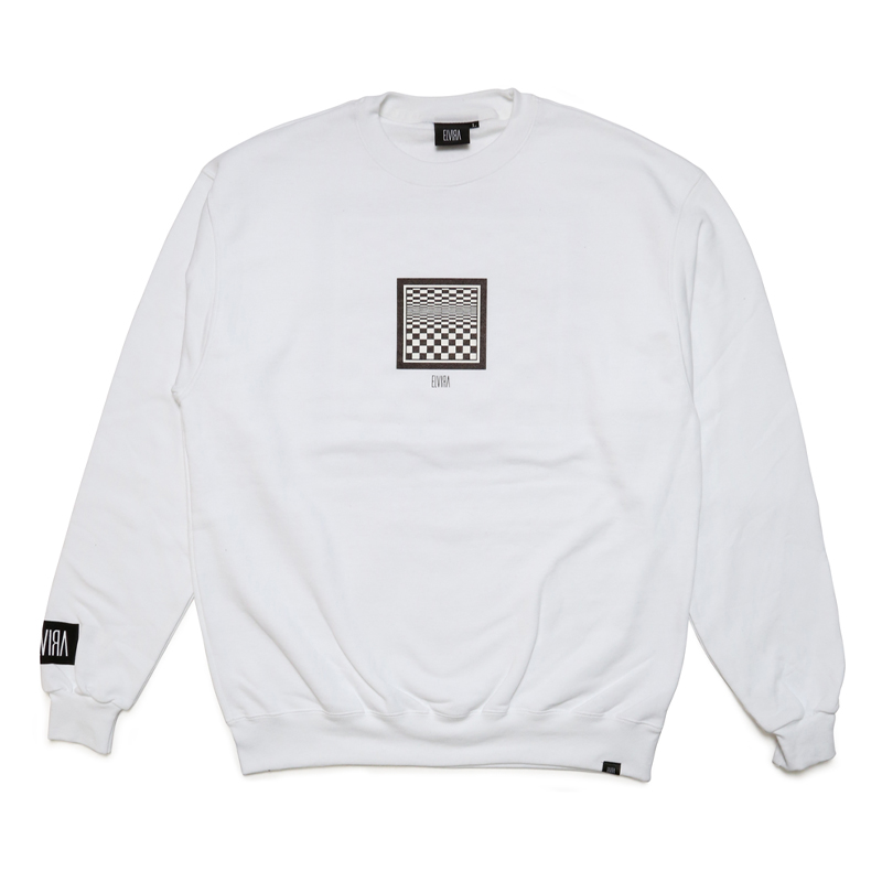 CHECKER FRAME CREW SWEAT -WHITE-