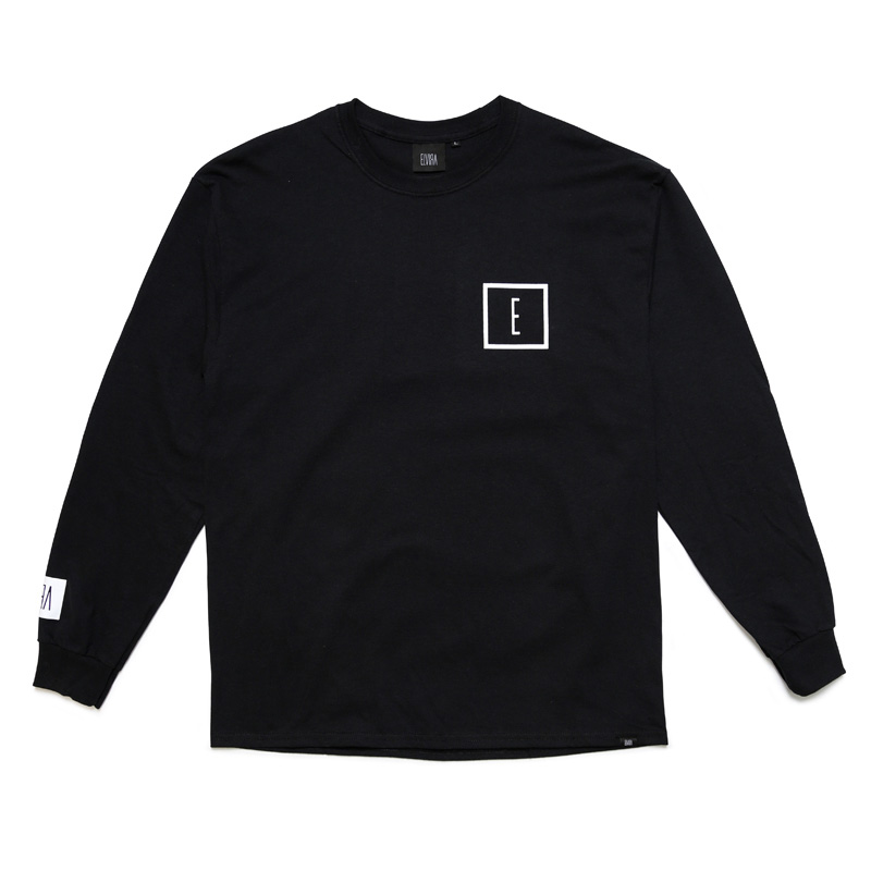 E LOGO L/S T-SHIRT -BLACK-