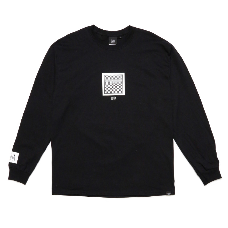 CHECKER FRAME L/S T-SHIRT -BLACK-