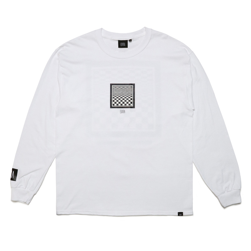 CHECKER FRAME L/S T-SHIRT -WHITE-