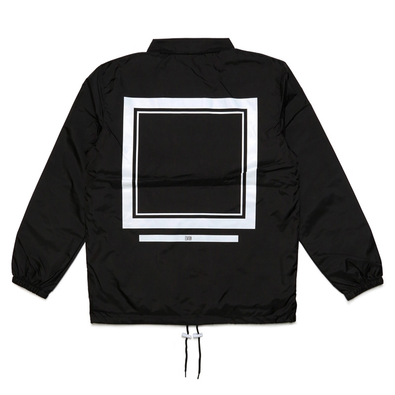 FRAME COACH JACKET with DRAWSTRING BACKPACK -BLACK-