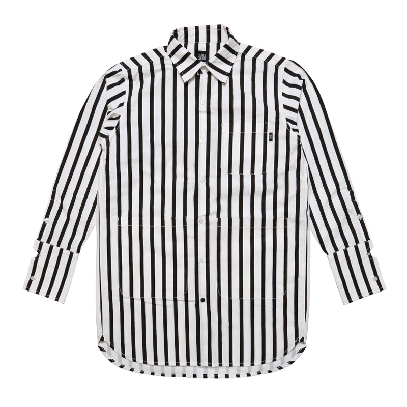 STRIPE LONG L/S SHIRT -WHITE-