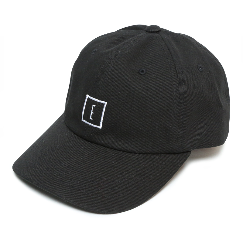 E LOGO LOW STRAP CAP -BLACK-