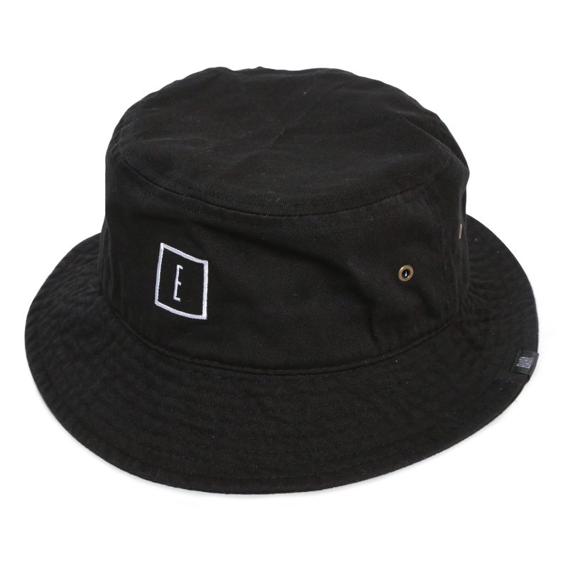 E LOGO BUCKET HAT -BLACK-