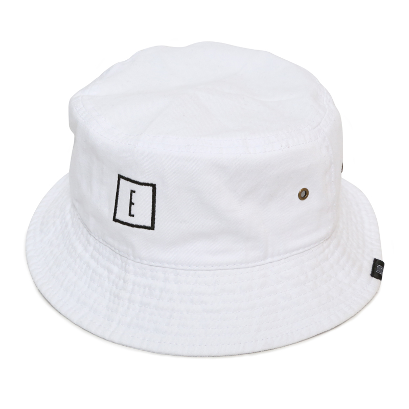 E LOGO BUCKET HAT -WHITE-