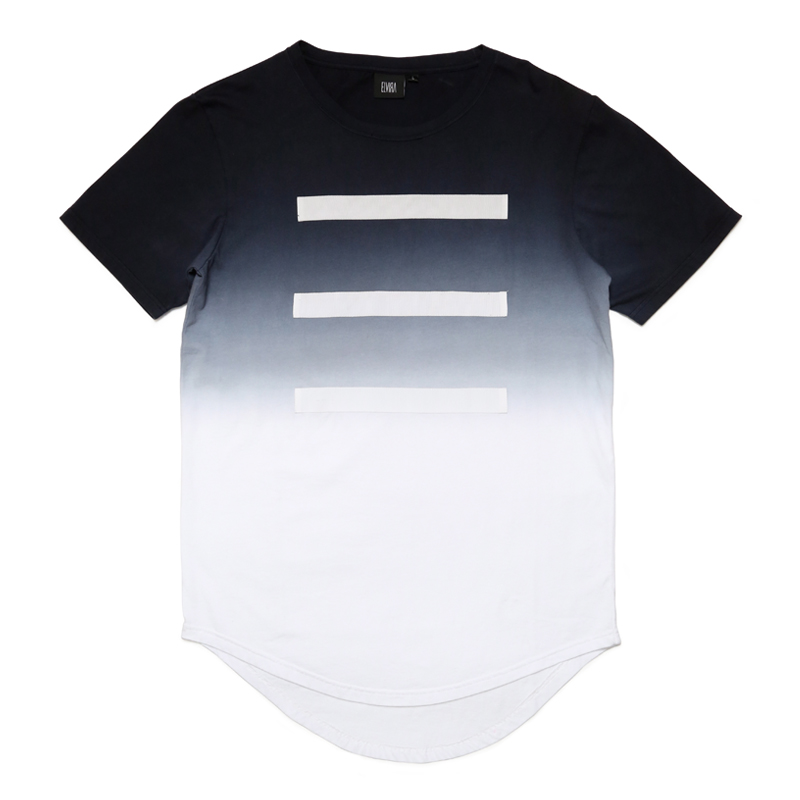 3 LINE GRADATION T-SHIRT -BLACK-