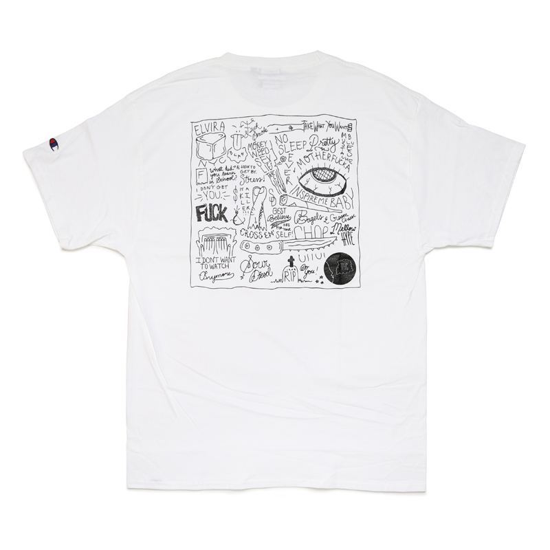 HAND DRAWING T-SHIRT #1 with BANDANA -WHITE-