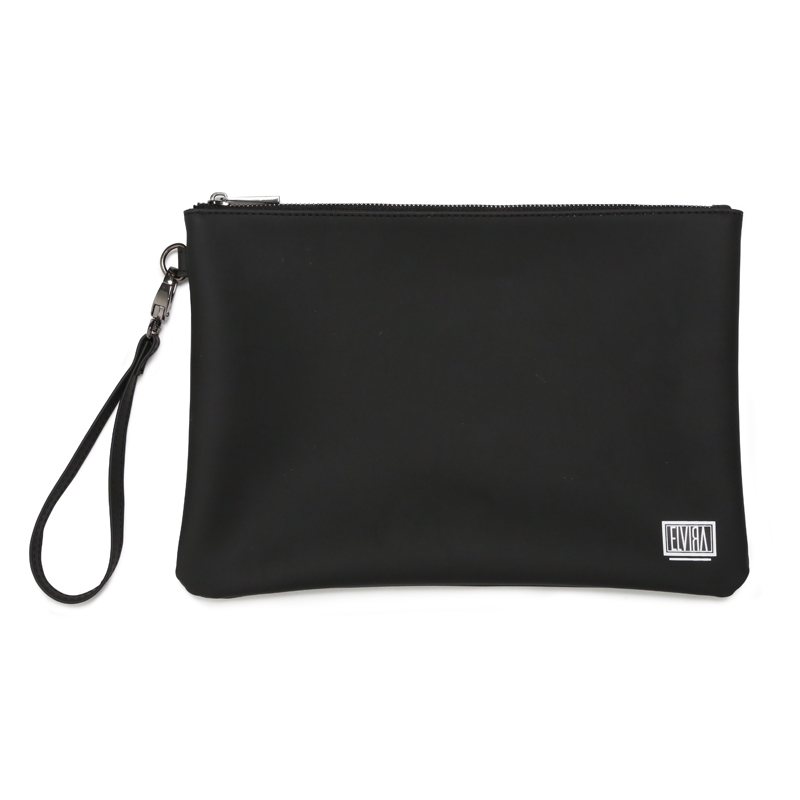 BOX MAT VINYL CLUTCH BAG -BLACK-