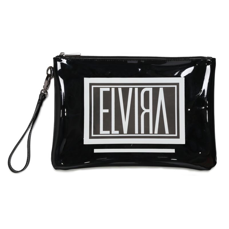 BOX SHINY VINYL CLUTCH BAG -BLACK-