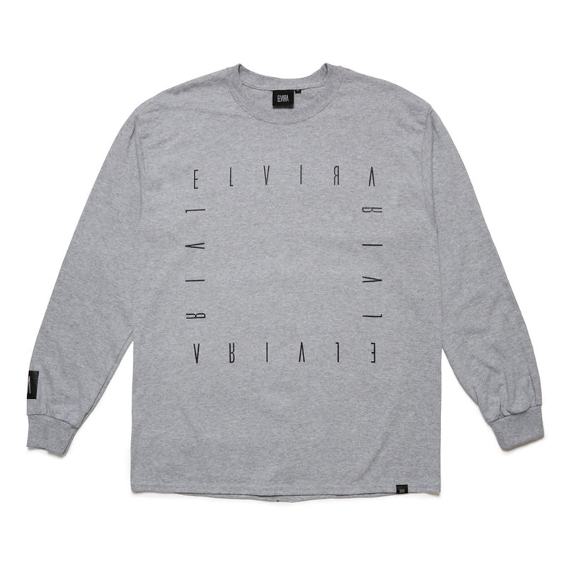 ALPHABET FRAME L/S T-SHIRT -GREY-