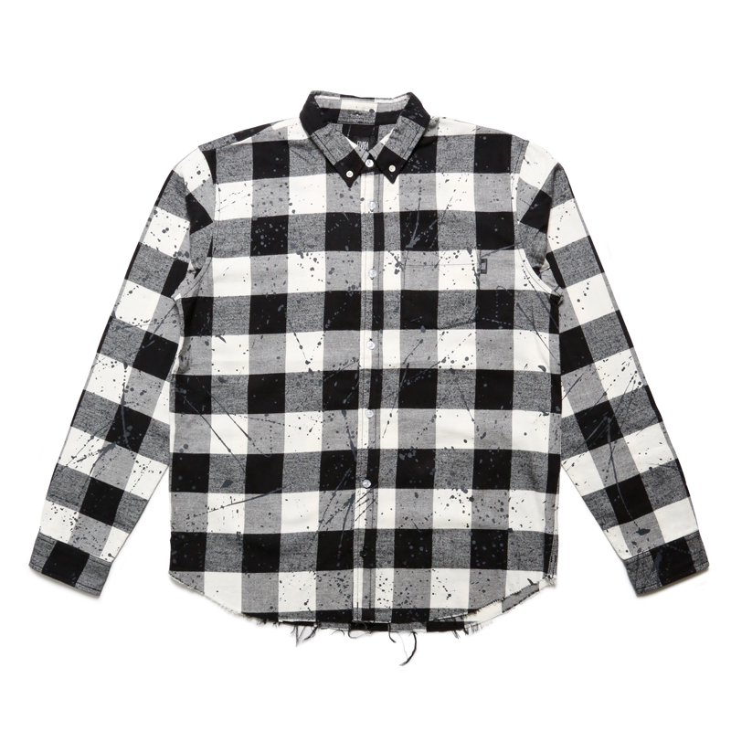 FLANNEL DRIP CHECK L/S T-SHIRT -WHITE-