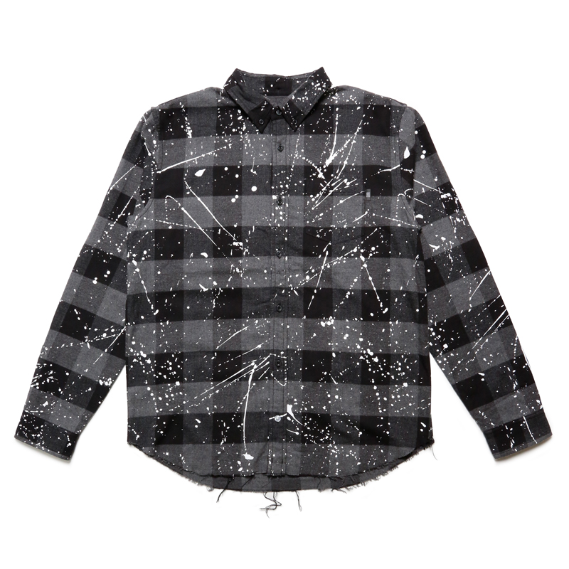 FLANNEL DRIP CHECK L/S T-SHIRT -GREY-