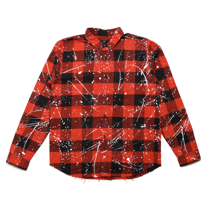 FLANNEL DRIP CHECK L/S T-SHIRT -RED-