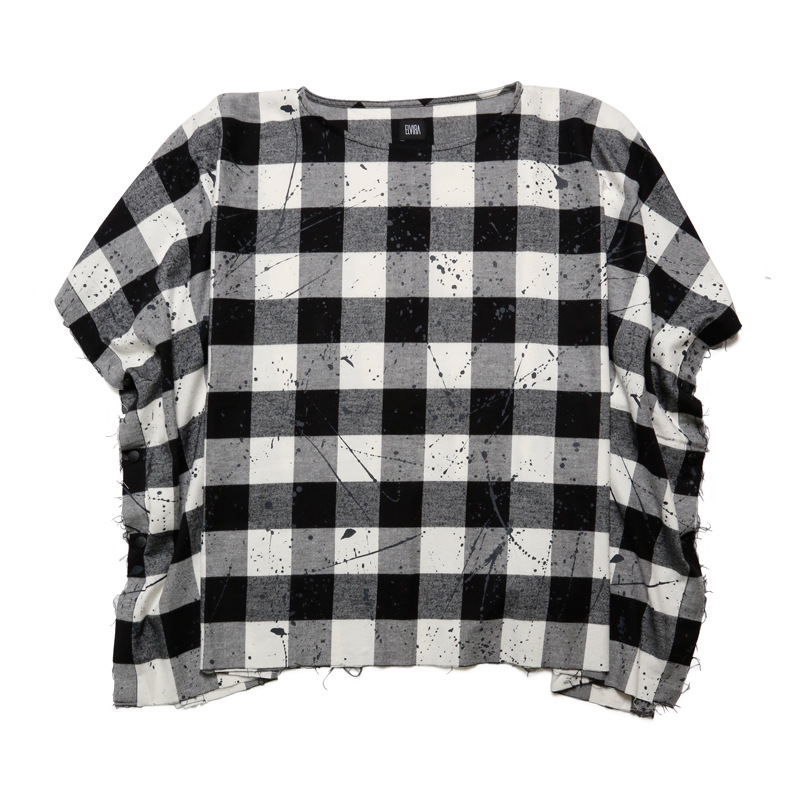 FLANNEL DRIP CHECK PONCHO -WHITE-