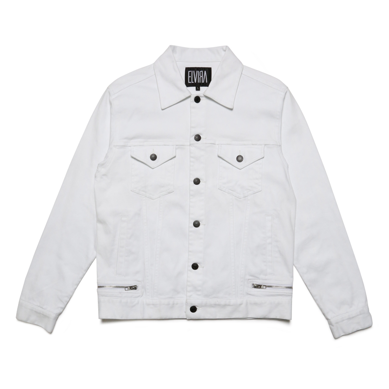 ZIP TRUCKER JACKET-WHITE-