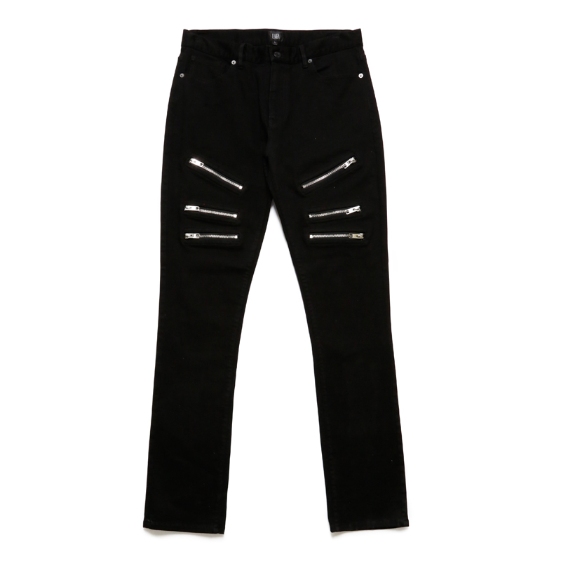 ZIP PANTS -BLACK-